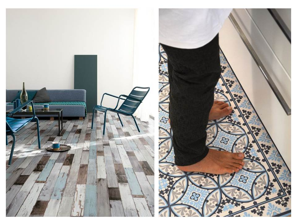 Materials monday vinyl flooring restless design for Patterned linoleum tiles