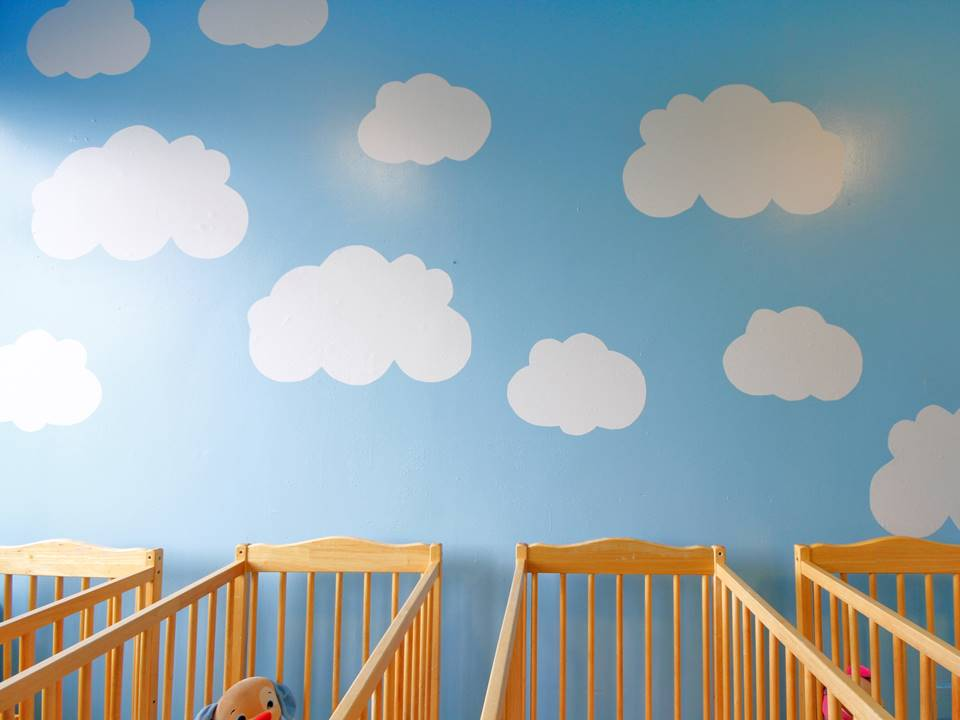 12 sleep room cool playroom colours in interiors colour blue wall white clouds baby room