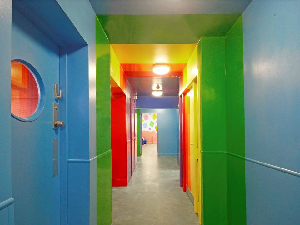 2 Rainbow Corridor creche Restless Design cool reception colours in interiors colour blocking vibrant interior