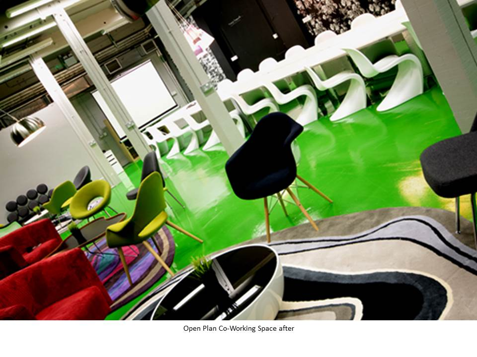 WAREHOUSE CONVERSION GREEN FLOOR CO-WORKING PANTONE CHAIR EAMES CHAIR FEATURE RUG