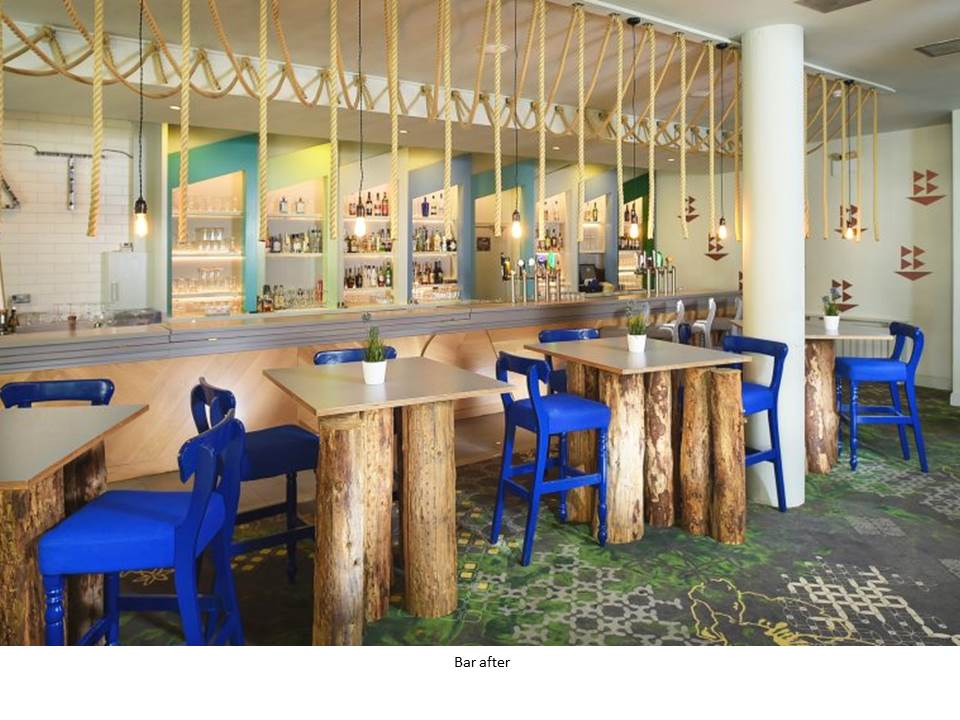 OCEAN BAR ARMADA HOTEL WILD ATLANTIC WAY BLUE CHAIR EGE CARPET ROPE LIGHT FEATURE BAR BESPOKE BAR