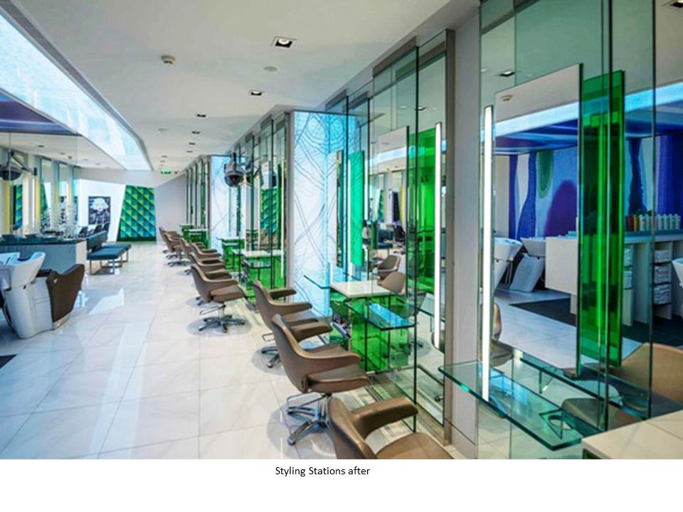PETER MARK FLAGSHIP SALON STYLING STATION BACKLIT GRAPHICS GREEN MIRROR
