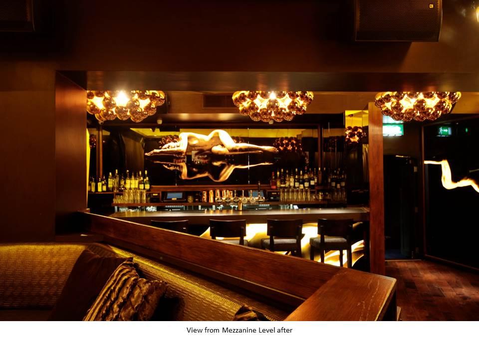BRONZE COCKTAIL BAR NIGHT CLUB BAR DESIGN FEATURE CEILING BACK LIT BAR BESPOKE LIGHTING FEATURE WALL