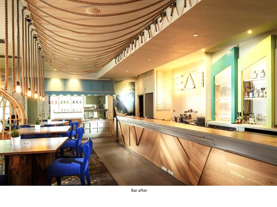 OCEAN BAR ARMADA HOTEL WILD ATLANTIC WAY BLUE CHAIR EGE CARPET ROPE LIGHT FEATURE BAR BESPOKE BAR BASKING SHARK FEATURE ART ICE-CREAM OAK CLADDING