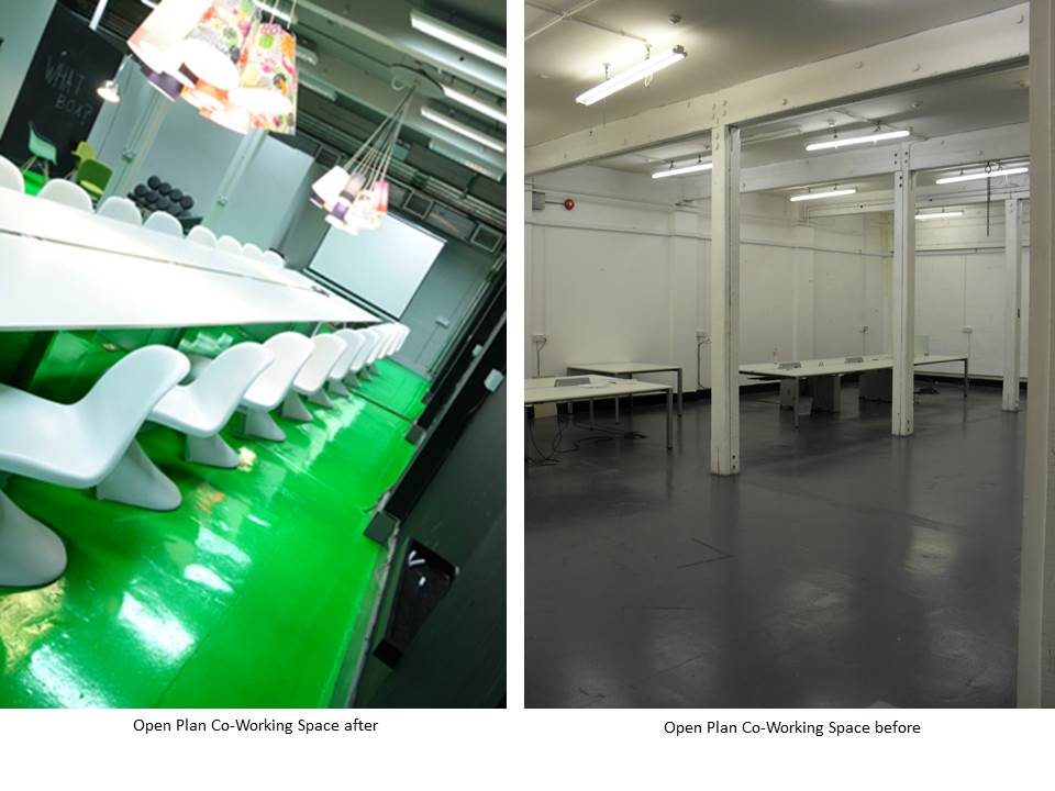 WAREHO-- USE CONVERSION GREEN FLOOR CO-WORKING PANTONE CHAIR BEFORE AFTER