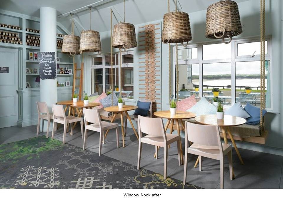 OCEAN BAR ARMADA HOTEL WILD ATLANTIC WAY BLUE CHAIR EGE CARPET ROPE LIGHT FEATURE BASKET LIGHT OCEAN VIEW WOODEN SPOONS
