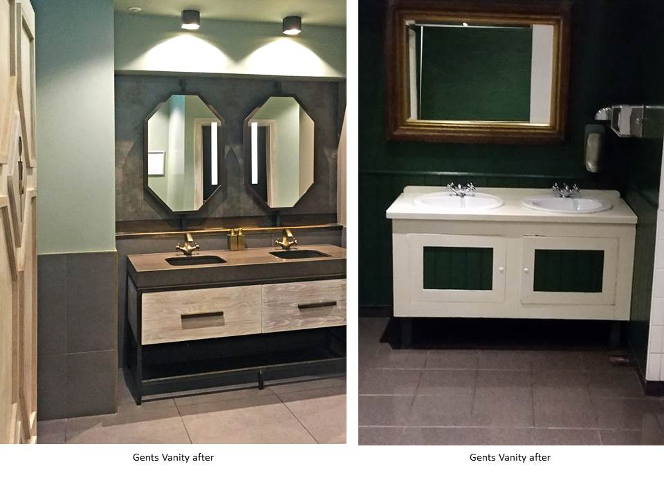 MARKET LANE BATHROOMS, SILESTONE COUNTER, LIMED OAK DOORS, HEXAGON LIGHTS, HEXAGON MIRRORS, BRASS