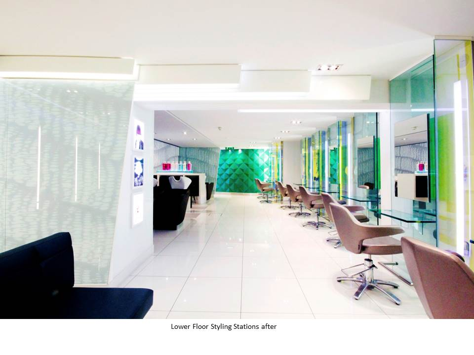 PETER MARK SALON GRAFTON STREET GREEN MIRROR STYLING STATION BESPOKE SOFA BESPOKE GRAPHICS KVADRAT SUDDEN POLISHED PORCELAIN SHAMPOO AREA FIBRE GLASS WALL