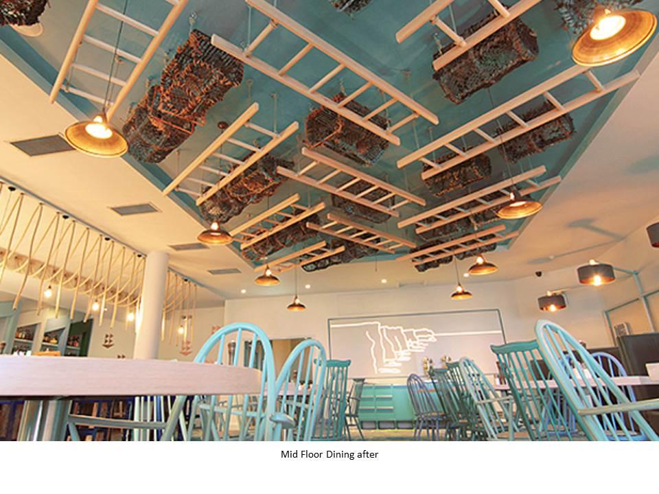 OCEAN BAR ARMADA HOTEL WILD ATLANTIC WAY BLUE CHAIR LADDER CEILING FEATURE CEILING NEON CLIFFS OF MOHER