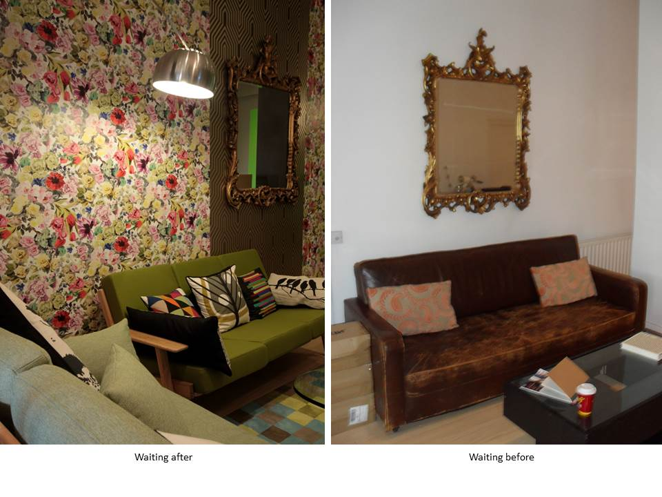 WAREHOUSE CONVERSION WAITING AREA FEATURE WALLPAPER BEFORE AFTER