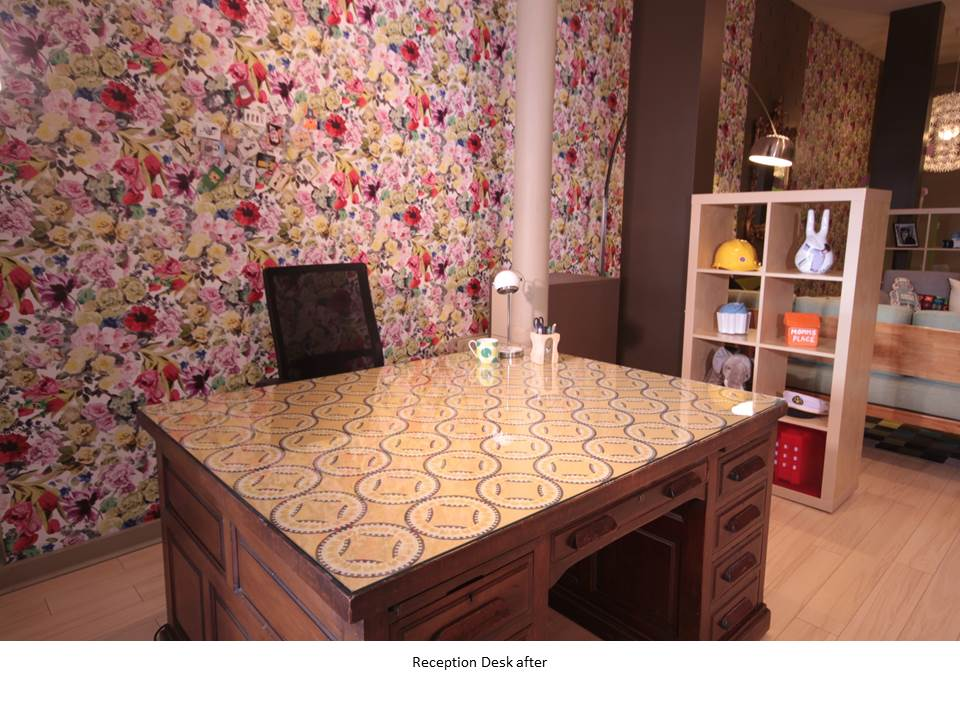 WAREHOUSE CONVERSION RECEPTION DESK FLOWER WALLPAPER WRITING DESK