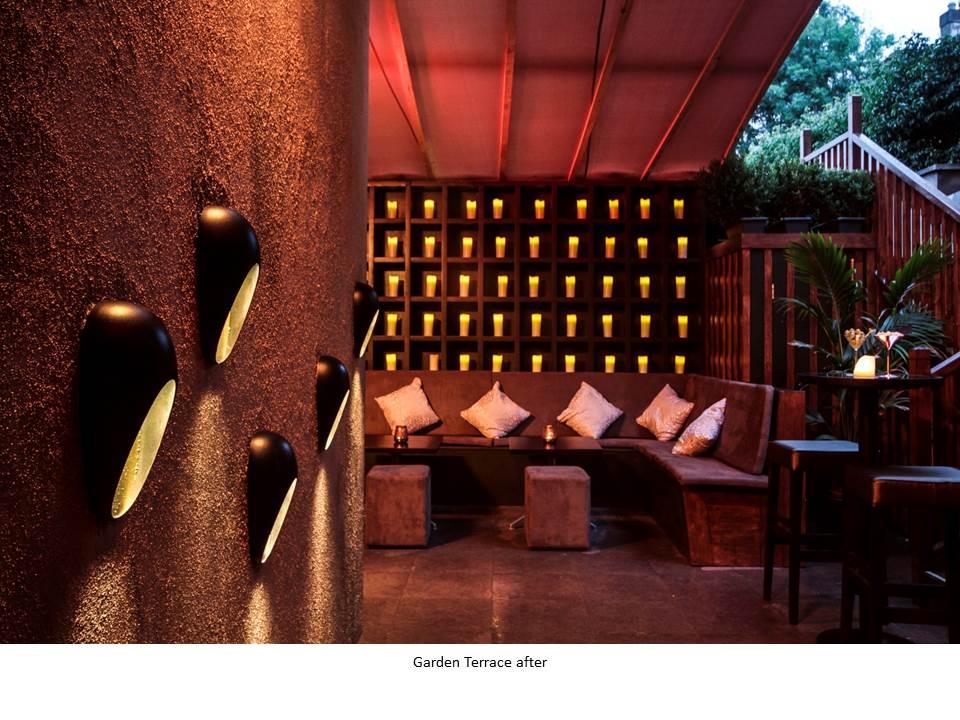 BRONZE COCKTAIL BAR NIGHT CLUB BAR DESIGN FEATURE BATHROOM DESIGN BRONZE MOSAIC TERRACE DESIGN FLAMELESS CANDLES